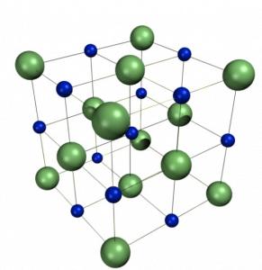 תא יחידה המרכיב את המבנה הגבישי של נתרן כלורי, NaCl. קטיוני הנתרן מסומנים בכחול, ואניוני הכלוריד בירוק. היחס בין יוני הנתרן לכלוריד הוא 1:1